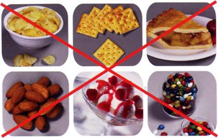 Фото: запрещенные продукты при ношении брекетов