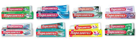 Фото: ассортимент зубных паст Пародонтол